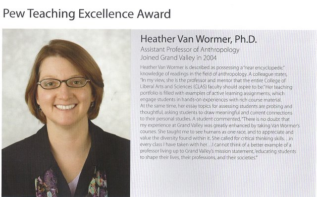 Heather Van Wormer Pew Teaching Excellence Award